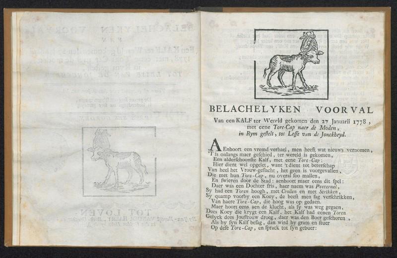 Belachelyken voorval van een kalf ter wereld gekomen den 27 januarii 1778, met eene tore-cap naer de moden